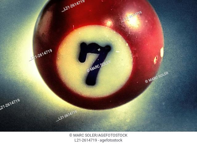 Number seven, 7, red billiard ball