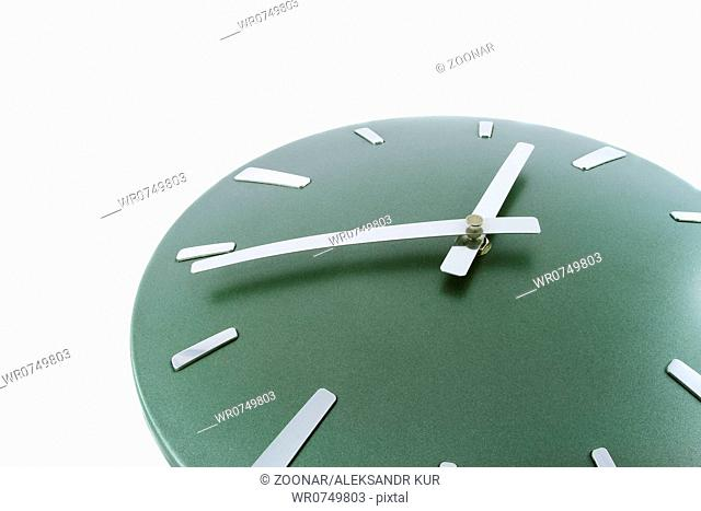 Modern clock isolated over white. Time is 14.53 a.m. Fragment