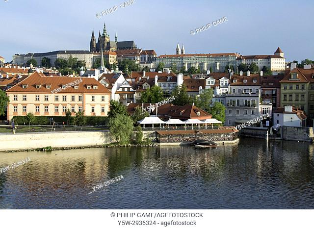 Prague Castle or Hradcany, beyond the Vltava or Moldau river. Praha, Czech Republic