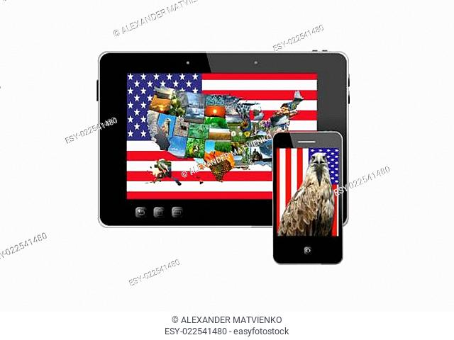 tablet and modern mobile phone with symbols of USA