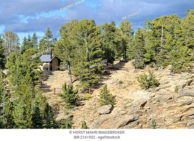 Toilet hut at Juniper Pass, State Road 103, Mount Evans Wilderness Arapaho National Forest, Idaho Springs, Colorado, USA