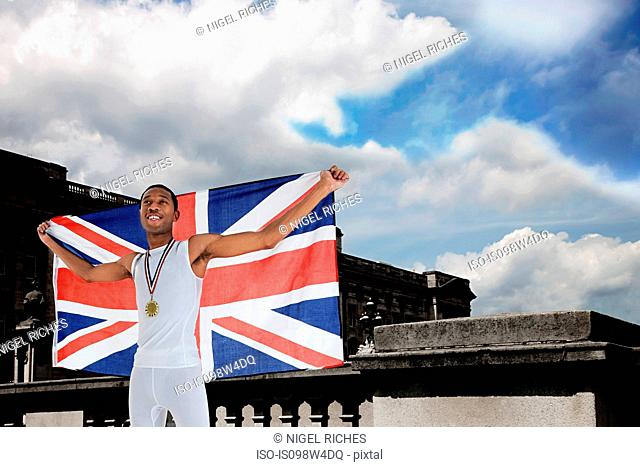 Olympic gold medal winner with Union Jack