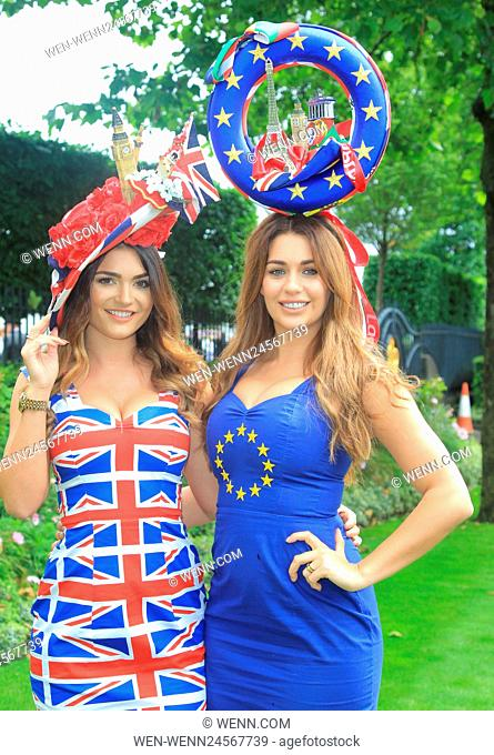 Spectators begin to arrive at a very wet and rainy Ascot Racecourse for day 1 of Royal Ascot Featuring: Atmosphere Where: Ascot