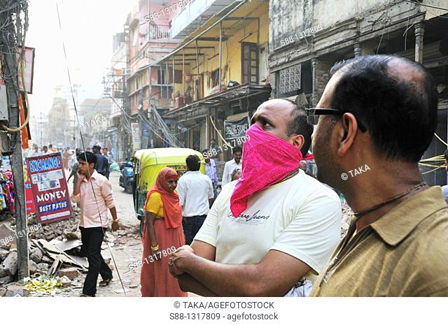 Main shopping street Paharganj where is front of New Delhi satiation, is on big road work Width of the street got wider, so both side of the street