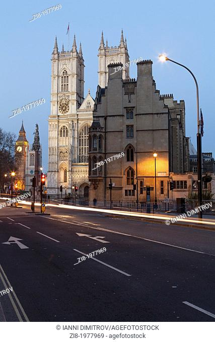 Westminster Abbey at night from Victoria street,London,England