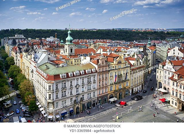 Prague Czech Republic. Aerial view of old town