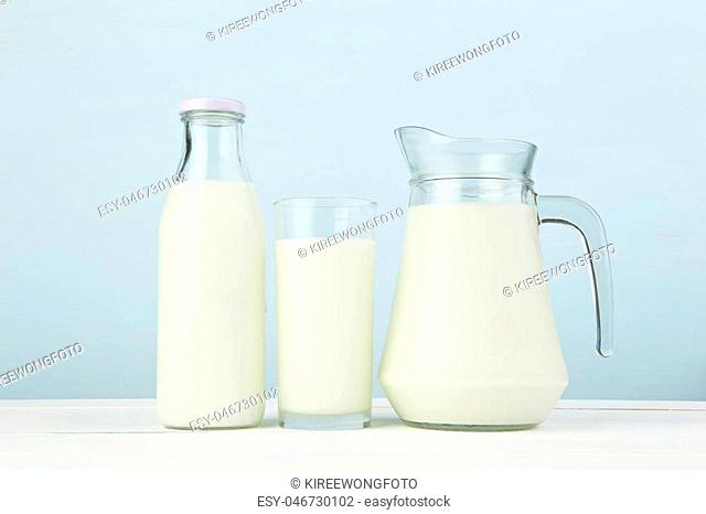 Dairy products. Assortment of fresh milk on white table with color background. Major food major 5 group