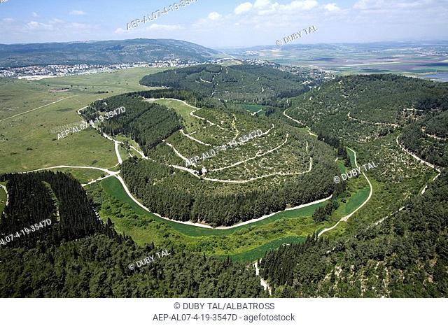 Aerial photograph of the Hazorea forest in the Menashe plains