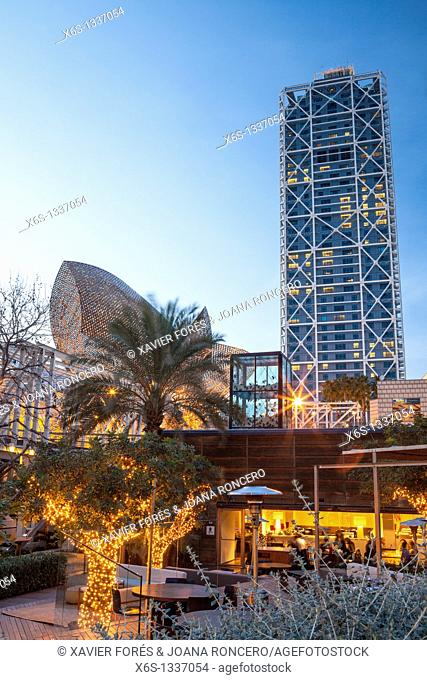 Arts Hotel at nigth, Barcelona, Spain