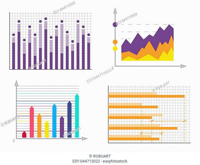 Graphics collection poster, banner and information with colorful charts graphics set arrows and dots, vector illustration isolated on white background