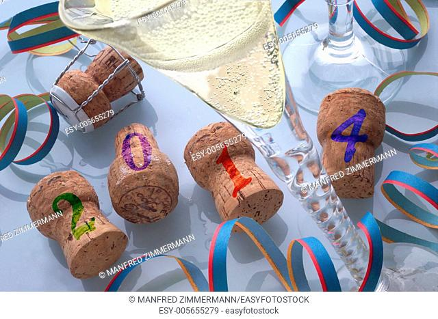 Champagne corks and champagne as a symbol of the new year 2014