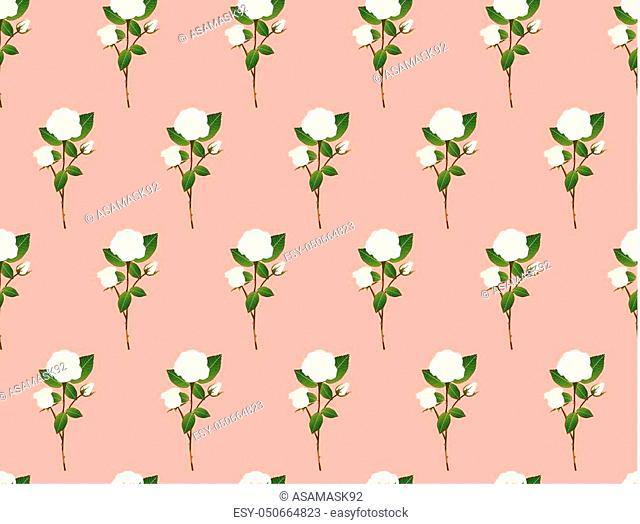 White Rose Bouquet on Orange Pink Background. Vector Illustration