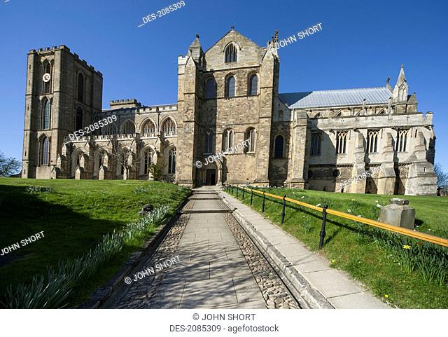 Path leading to ripon cathedral, ripon yorkshire england