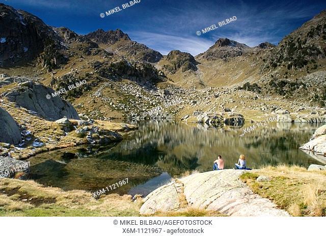 small lake  Colomers glaciar cirque  Aran Valley  Pyrenees mountain range  Lerida province  Catalonia, Spain, Europe