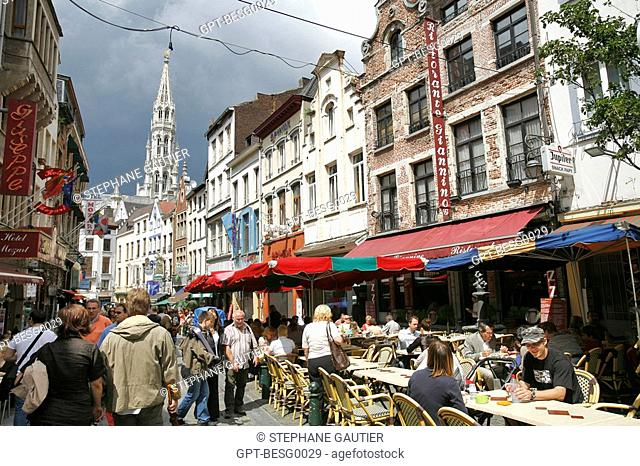 TERRACE AND HOUSE FACADES, RUE DU MARCHE AUX FROMAGES CHEESE MARKET STREET, BRUSSELS, BELGIUM