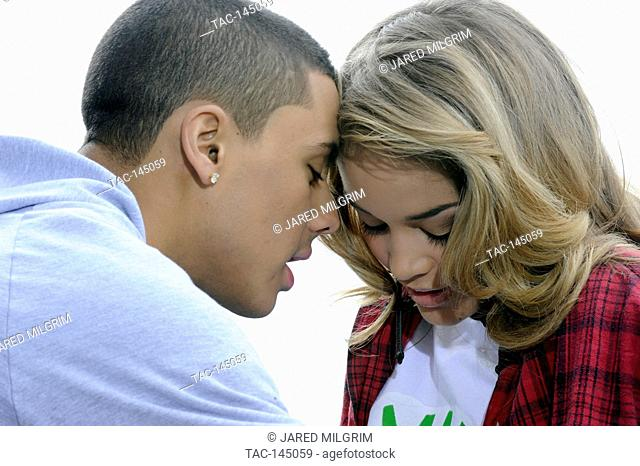 """Quincy Brown and Jasmine Sanders on set of Quincy Brown """"""""Stay Awhile"""""""" music video in Los Angeles, California"""