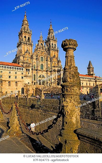 Santiago Cathedral on the Plaza do Obradoiro, UNESCO World Heritage Site Santiago de Compostela Coruña province Spain  Camino de Santiago