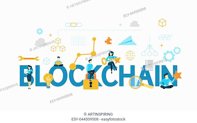 Blockchain concept illustration. Idea of mining, cryptocurrency and ico