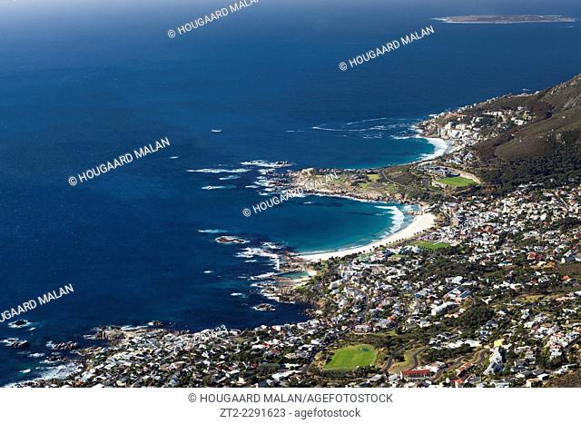 Telephoto image of Camps bay on a perfect summer day. Camps bay, Cape Town, South Africa