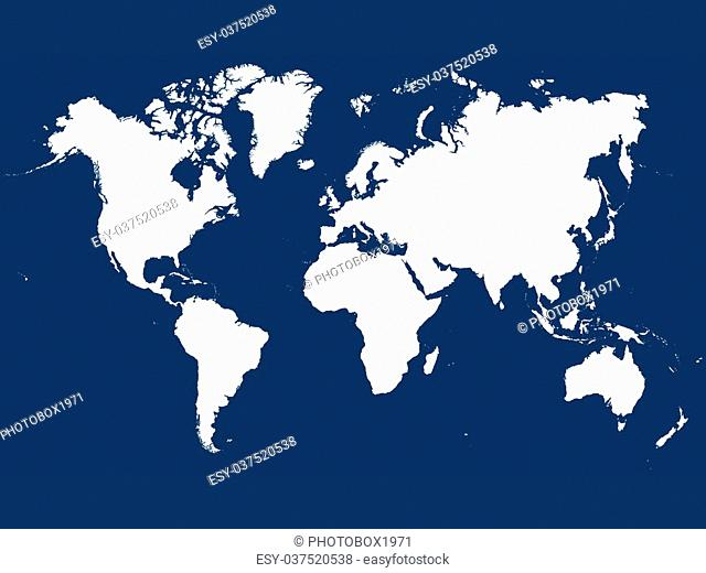 On this map of the world continents and islands with their seas are displayed