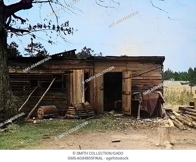 Dilapidated, one story wooden rural home on a farm at Crabtree Creek Recreational Project, Raleigh, North Carolina, 1936