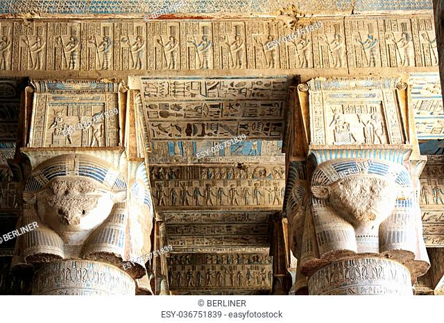columns and seiling of the Hypostyle Hall of the Dendera Temple, Egypt