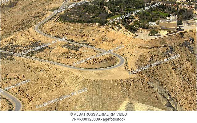 Aerial footage of road to Sde Boker in Negev desert