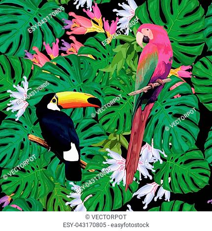 Exotic birds seamless pattern with toucan ara green palm branches and tropical flowers vector illustration