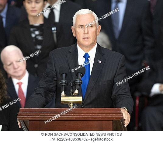 United States Vice President Mike Pence makes remarks during the Lying in State ceremony honoring the late US Senator John McCain (Republican of Arizona) in the...