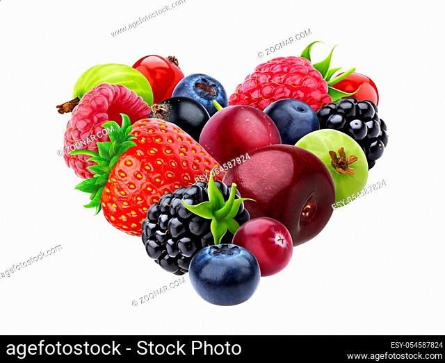 Heart shape made of berries isolated on white background with clipping path, pile of different forest berries collection