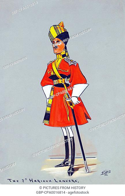 India: The 7th Hariana Lancers. Caricature style gouache painting, G.H. Brennan, 1909