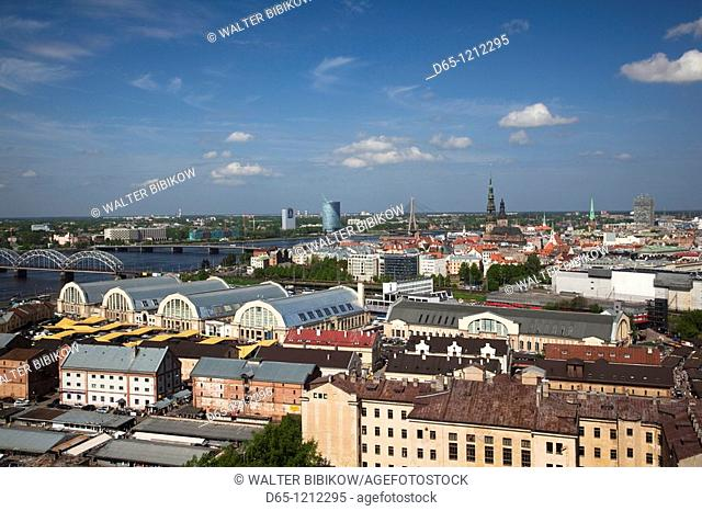 Latvia, Riga, Old Riga, Vecriga, elevated town view from Academy of Science building