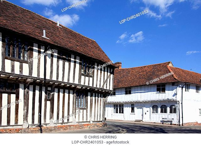 England, Suffolk, Lavenham. Half-timbered medieval buildings in the historic village of Lavenham. Lavenham gained great prosperity in the 15th and 16th...