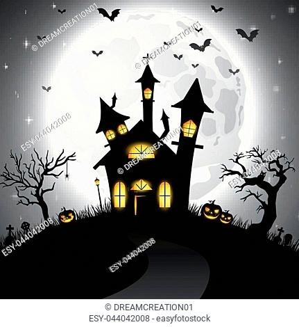 Vector illustration of Halloween background with scary church