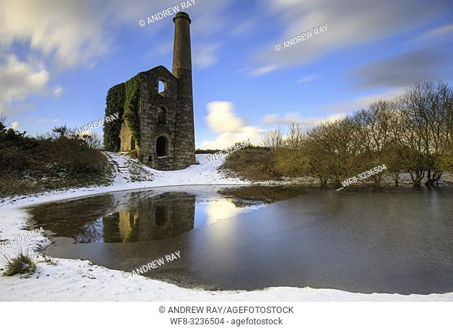 The Cornish engine house and pool on United Downs captured using a long exposure after a snowfall in early February