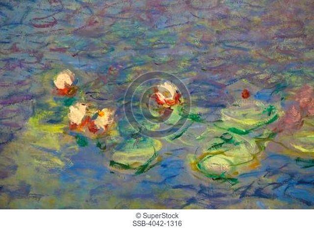 Detail of Water-lilies by Claude Monet, France, Paris, Musee de L'Orangerie