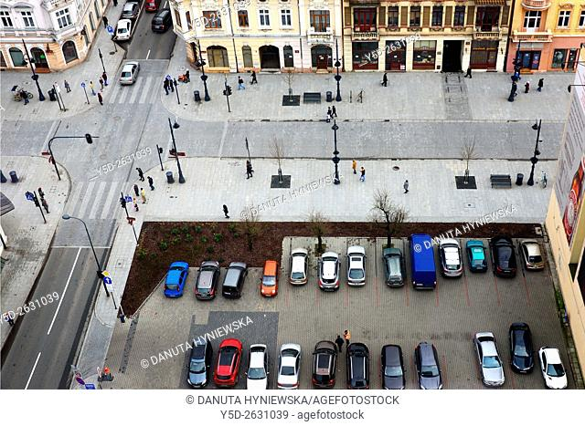 Piotrkowska street where traffic is not allowed (only rickshaw) - longest pedestrian street in Poland, here crossing with streets Zamenhofa (lower) and Nawrot...