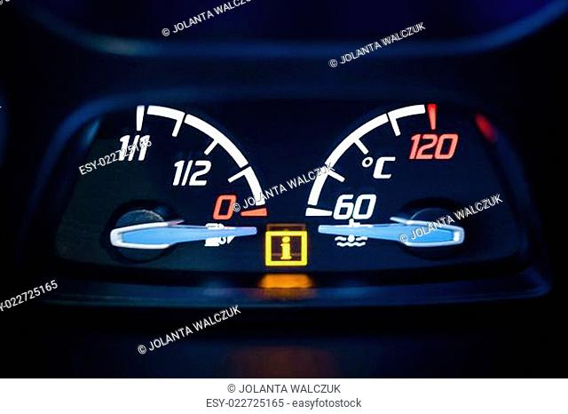 Fuel, gas and Engine coolant temperature gauge in car with warning lamp