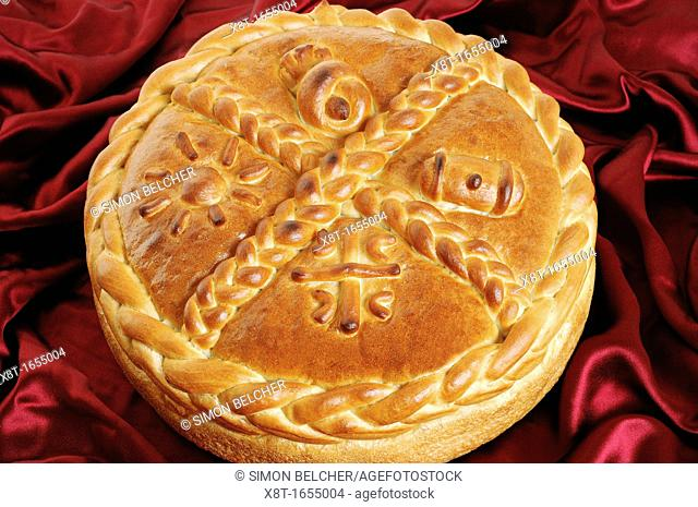 Serbian Orthodox Traditional Christmas Bread Known as a Cesnica  Orthodox Serbs break the bread during a ceremony to mark Orthodox Christmas day on the 7th of...