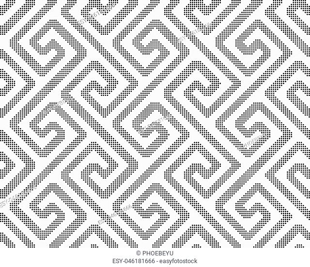 Halftone round black seamless background spiral cross geometry line