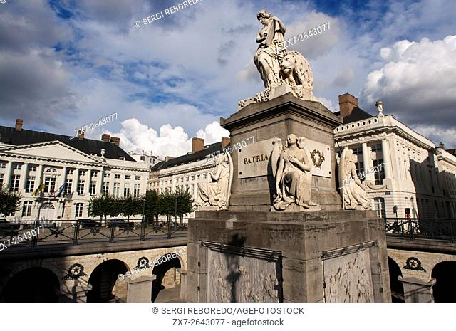 The Place des Martyrs Square, Brussels, Belgium. Symbol of the Belgian Revolution of 1830. The Martyrs Square (Place des Martyrs) is a great unknown for...