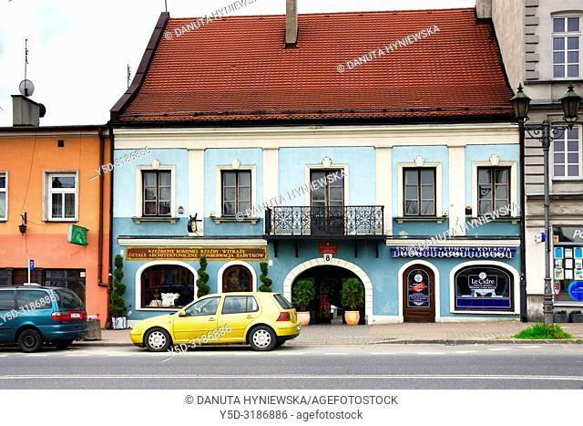 Old market square in old town of Czestochowa, many old conservation buildings rebuilt and maintained by the authorities and private sector