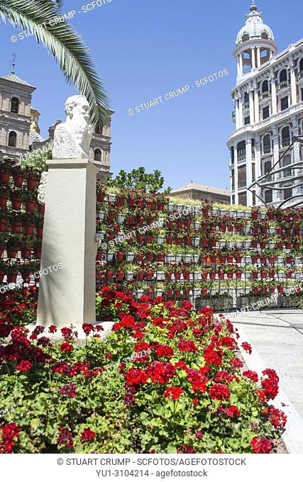 Display of flowers in the Plaza Santo Domingo square in Murcia Spain