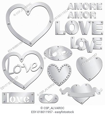 Plate LOVE silver heart vector illu