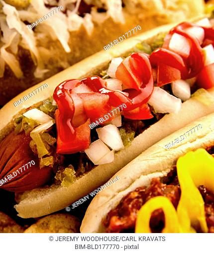 Close up of variety of hot dogs