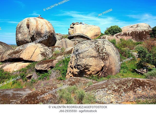 Granite bowls in the Los Barruecos natural park. Cáceres