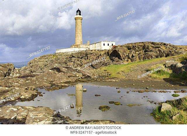 Ardnamurchan Lighthouse the most westerly point on mainland Britain reflected in a pool of water