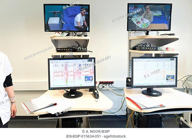 Reportage in the epileptology unit in Nice Hospital, France. The control room. The control room is used during long EEGs, which last between 24h and 5 days