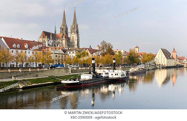 Regensburg in Bavaria, the Old Town is listed as UNESCO World Heritage. The Danube Shipping Museum, the old town in the background