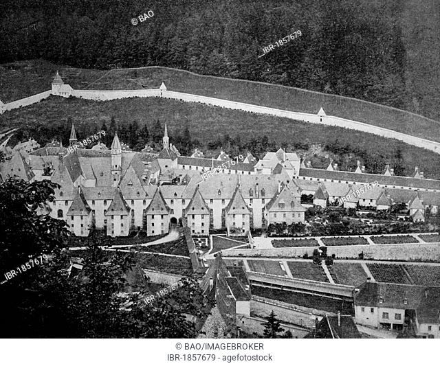 Early autotype of the Grande Chartreuse monastery, Grenoble, Rhône-Alpes, France, historical picture, 1884